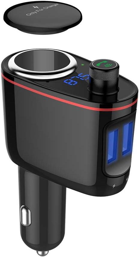 LPP Cargador para automóvil, 12V 24W 3.4A Reproductor Bluetooth para automóvil, de USB Charge Cigarette Lighter FM Transmitter - Negro