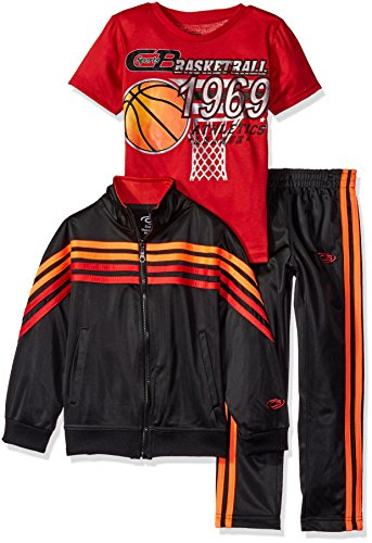 CB Sports Little Boys' Tricot Jacket and Pant with Graphic Print T-Shirt, Engine Red, - Graphic Jacket Print