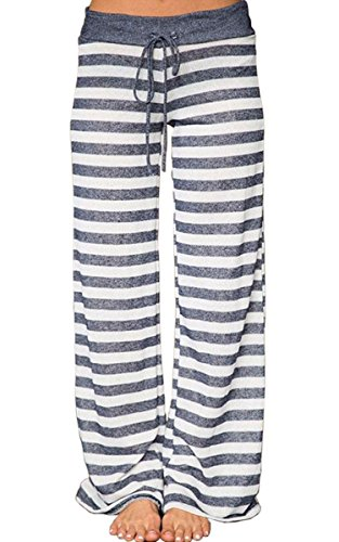 Angashion Women's High Waist Casual Floral Print Drawstring Wide Leg Pants,Stripe,US 10/Tag 2XL