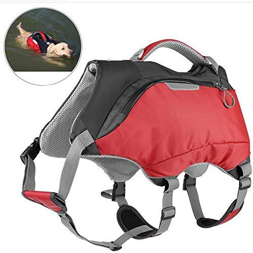 - OSPet Dog Life Jacket and Backpack Vest Pet Harness Saddle Bag Hiking Gear for Camping Swiming Traveling for Medium Large Dogs