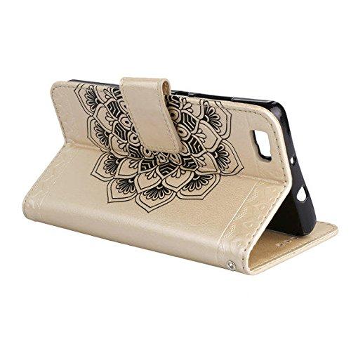 YAJIE-Carcasa Funda Para Huawei P8 Lite en relieve medio diseño de flores [correa para la muñeca] Premium PU cuero billetera bolsa Flip Stand caso ( Color : Blue ) Gold