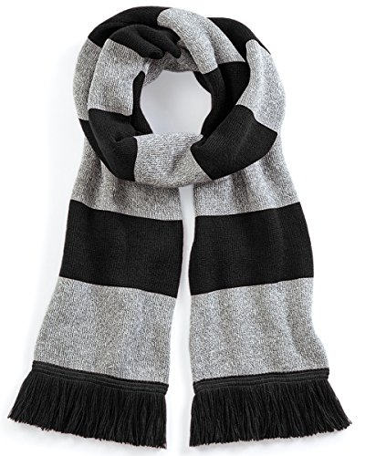 Beechfield Varsity Unisex Winter Scarf (Double Layer Knit) (One Size) (Black / Heather Grey) ()