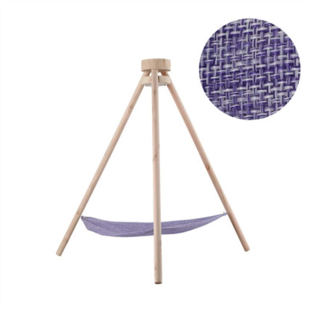 Purple Stereo-Tripod Cat Hammock, Natural Wood and Breathable Linen, Cat Sleeps Comfortably, Play,Purple