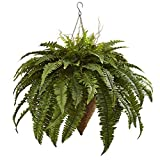Nearly Natural 6872 26'' Giant Boston Fern with Cone Hanging Basket