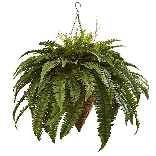 Nearly Natural 6872 26'' Giant Boston Fern with Cone Hanging Basket by Nearly Natural