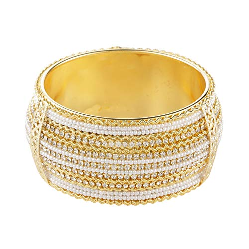 Efulgenz Indian Style Bollywood Gold Plated Faux Pearl Rhinestone Wedding Large Bracelet Bangle Jewelry (1 Pc)
