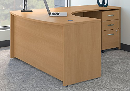 Bush Business Furniture Series C Right Handed L Shaped Desk with Mobile File Cabinet in Light Oak