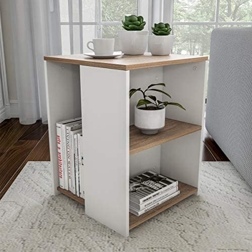 Lavish Home End Minimalist Two-Toned Cube Accent Side Table