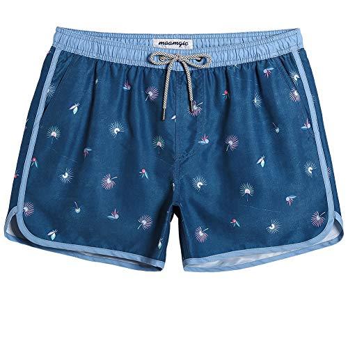 MaaMgic Mens Classic Swim Trunks Retro Vintage Swim Shorts 90s 80s Swimsuits with Mesh Lining Quick Dry Board Shorts Denim Blue ()