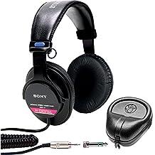 Sony Studio Monitor Headphones with CCAW Voice Coil (MDR-V6) with Slappa HardBody PRO Full Sized Headphone Case - Black