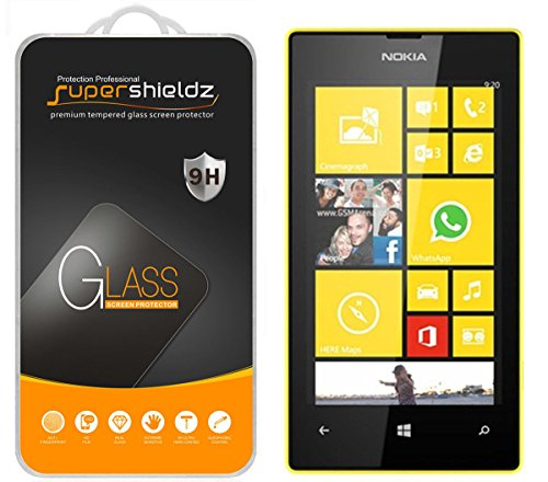 [2-Pack] Supershieldz for Nokia Lumia 520 Tempered Glass Screen Protector, Anti-Scratch, Anti-Fingerprint, Bubble Free, Lifetime Replacement