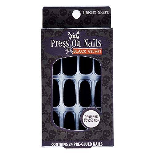 Fright Night Press On Nails, Black Velvet, 24 Count Pre-Glued Nails, easy to apply and remove, no glue needed -