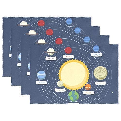 MAMACOOL Solar System Background Placemats Heat Resistant Dining Table Mats Non-Slip Washable Place Mats Set of 6 by MAMACOOL