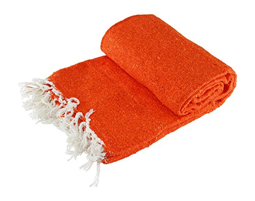 Woven Solid Mexican Blanket Orange
