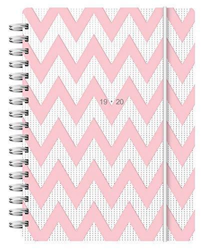 Letts - Agenda escolar 19/20 con diseño de patrón en forma de V (tamaño A6, vista semanal), color rosa