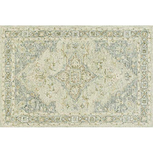 Julian 5' x 7'6'' Hand Hooked Wool Rug in Seafoam Green and Spa Area Rug Dining Room Home Bedroom Carpet Floor Mat