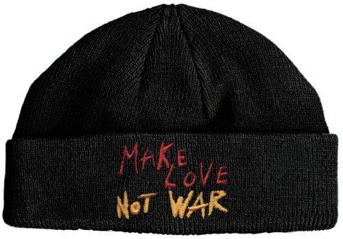 Fan-O-Menal Wollmütze mit Einstickung -Make Love Not War - 51009 schwarz - Skimütze Mütze Strickmütze