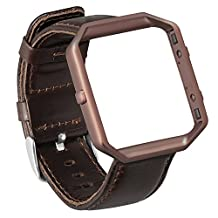 Fitbit Blaze Bands,ESEEKGO Genuine Leather Watch Band with Metal Frame for Fitbit Blaze Smart Watch Accessory Replacement Wristband ( No Tracker,Coffee Band + Coffee Frame )