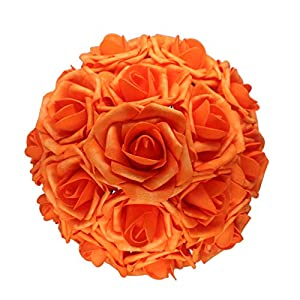 AnParty 50pcs Artificial Flower,Real Touch Artificial Foam Roses Decoration DIY Wedding Bridesmaid Bridal Bouquet Centerpieces Party (50, Reddish Orange)