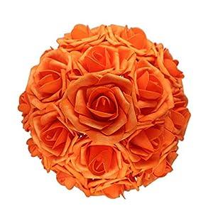 AnParty 50pcs Artificial Flower,Real Touch Artificial Foam Roses Decoration DIY Wedding Bridesmaid Bridal Bouquet Centerpieces Party (50, Reddish Orange)