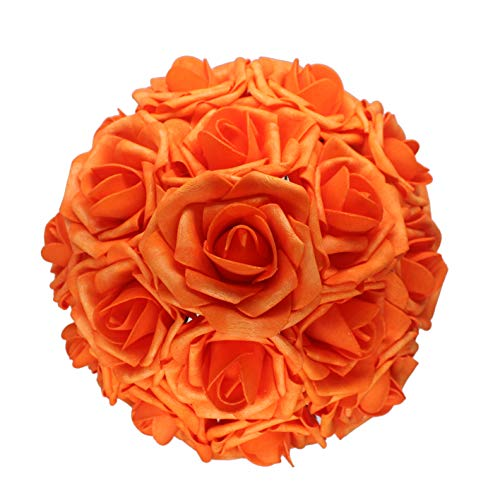 AnParty 25pcs Artificial Flower,Real Touch Artificial Foam Roses Decoration DIY Wedding Bridesmaid Bridal Bouquet Centerpieces Party (25, Reddish Orange)