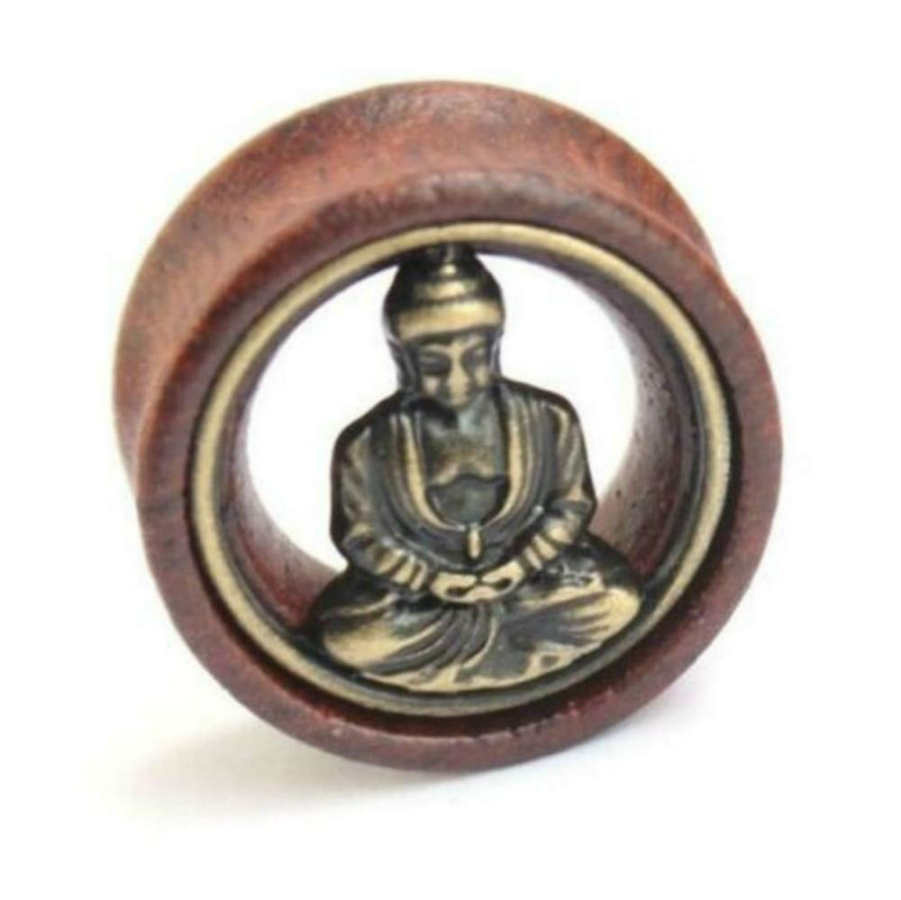 Flesh Tunnel Buddha Double Flared Ear Stretcher Saddle Plugs Gauge 8mm - 20mm (Brown, 12mm) by Acccity (Image #3)