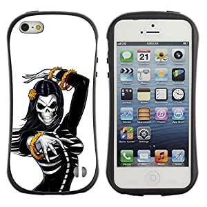"Pulsar iFace Series Tpu silicona Carcasa Funda Case para Apple iPhone SE / iPhone 5 / iPhone 5S , Cráneo Sexy Mujer esquelética de mama"""