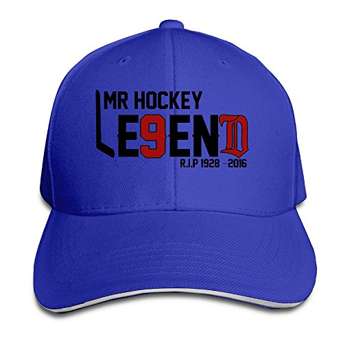 BOoottty R.I.P Hockeytown Hockey Legend #9 Mr.Hockey Flex Baseball Cap RoyalBlue (Legend Flat Screen)