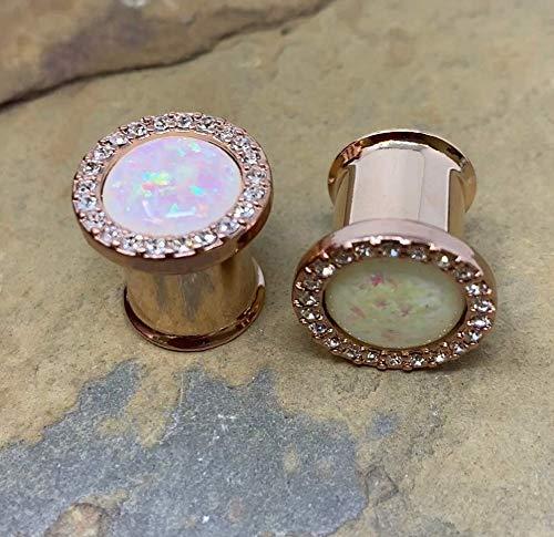 16mm 5//8 Rose Gold Plug Opal Multi-Gem WildKlass Ear Gauge Plug