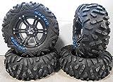 Bundle - 9 Items: ITP SS212 14'' Wheels Black 28'' BigHorn Tires [4x156 Bolt Pattern 12mmx1.5 Lug Kit]