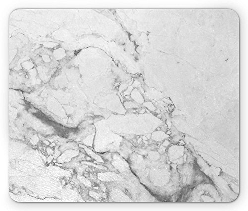 HUNAFIVG Marble Mouse Pad, Old Fashion Grungy Cultured Marbling Motif Formation Lines Retro Artsy Design Print, Standard Size Rectangle Non-Slip Rubber Mousepad, White Grey