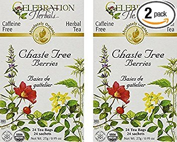 - Celebration Herbals Organic Chaste Tree Berries Tea - 2 Pack (48 bags in Total)
