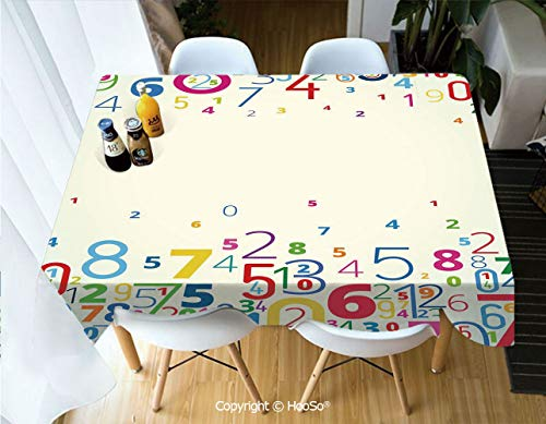 HooSo Fabric Rectangular Table Cloth, Washable Table Cover Perfect for Christmas, Thanks Giving, Dinner Parties, BBQ and Everyday Use,Mathematics Classroom Decor,Colored Digits Falling,60