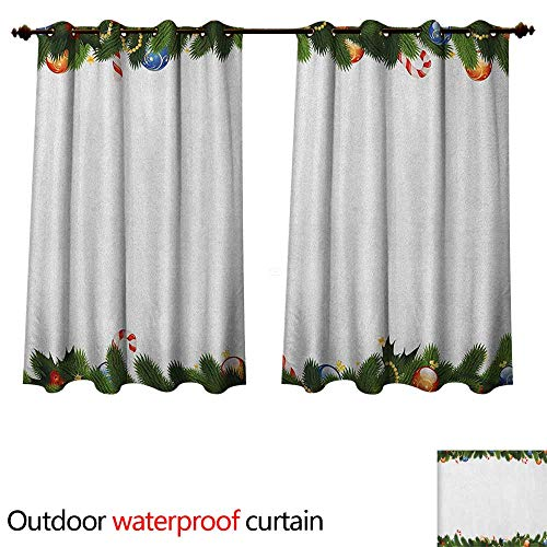 Anshesix New Year Outdoor Curtain for Patio Fir Tree Branches with Christmas Theme Candy Canes Baubles Festive Winter Holiday W108 x L72(274cm x 183cm) -