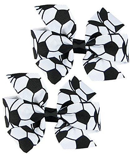 Hip Girl Boutique 2pc 3' White Soccer Grosgrain Ribbon Pinwheel Hair Bow Alligator Clips
