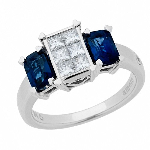 Amoro 18k White Gold Sapphire and Diamond Ring (0.44 cttw, H-I Color, SI2 Clarity ()