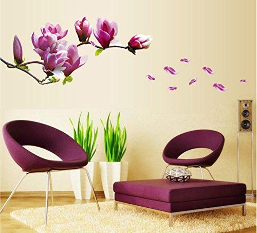 Rainbow Fox Romantici fiore magnolia Adesivi Murali, Camera da Letto  Soggiorno Adesivi da Parete Removibili/Stickers Murali/Decorazione Murale