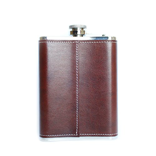 Thompsons-Leather-Flask-With-Funnel-8oz-Brown-Leather-Hip-Flask-Stainless-Steel-8-Ounce-Whiskey-Flask-Metal-Vintage-Hip-Flask-Funnel-Groomsmen-Flask