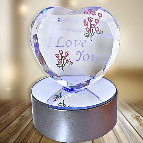 de4af5e3e727 I Love You Gift - Etched Glass Heart on Red Base - LED Light up Heart - Valentine s  Day Decoration - Wife