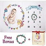 Baby Milestone Blanket for Girl, Boy | Unicorn | Large 60'x40' Soft Fleece | Best Baby Shower Gift | Newborn Photography Background Blanket | Months Watch Me Grow Photo Prop | Bonus Wreath & Gift Box