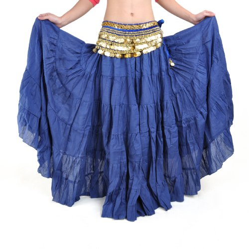 BellyLady Womens Belly Dance 8 Yard Skirt Vogue Bohemia Skirt Gypsy Maxi Skirt-NavyBlue