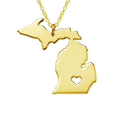 Gold In Michigan Map.Amazon Com 18k Gold Silver Country Map Charm Pendant Michigan State