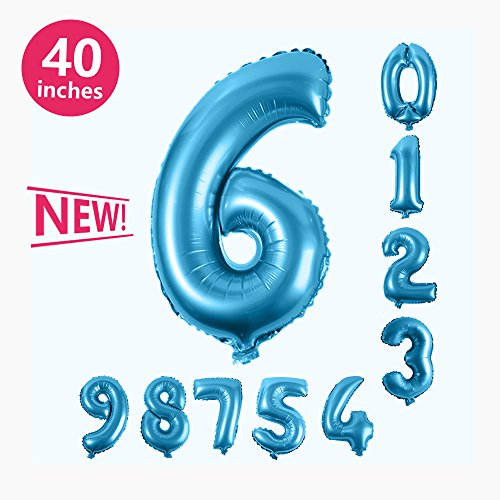 Number Balloons, Toufftek Foil Blue 40 Inch Number 6 Funny Number Balloons for Birthday Party Baby Shower Wedding Anniversary Halloween Party -