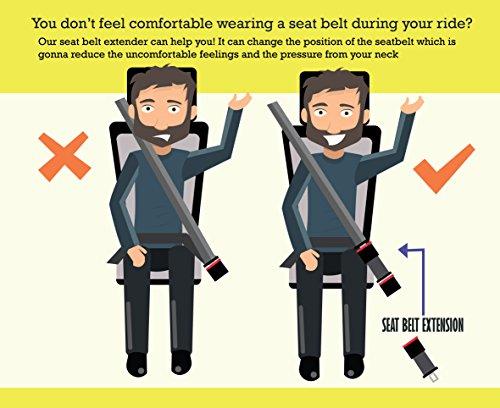 LexAuto 7\'\' Car Seat Belt Extender 2-Pack, 7/8\'\' Metal Tongue ...