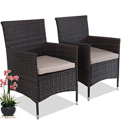 (Dining Chairs Match Dining Tables Patio Rattan Chair Outdoor Wicker Chairs Set of 2 Home Chair (Mixed Brown))