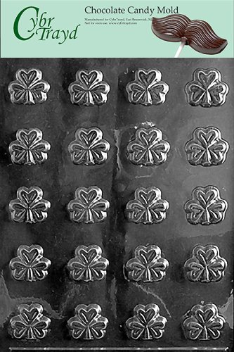 Shamrock Candy - Cybrtrayd P001 Bite Size Shamrocks Chocolate Candy Mold with Exclusive Cybrtrayd Copyrighted Chocolate Molding Instructions plus Optional Candy Packaging Bundles