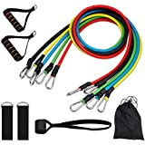 KUYOU Exercise Resistance Bands Set New,Leg Training Resistance Band & Agility Training Set Includes 5 Stackable Exercise Bands,Foam Grip,Ankle Straps,Door Anchor