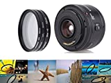 YONGNUO YN EF 50mm f/1.8 AF Lens 1:1.8 Standard Prime Lens Aperture Auto Focus + Andoer® 52mm UV + CPL + Star 8-Point Filter Kit with Case for Canon EOS DSLR Cameras