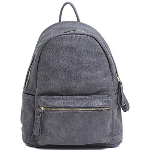 LS2 - Bolso mochila  de Piel para mujer L gris