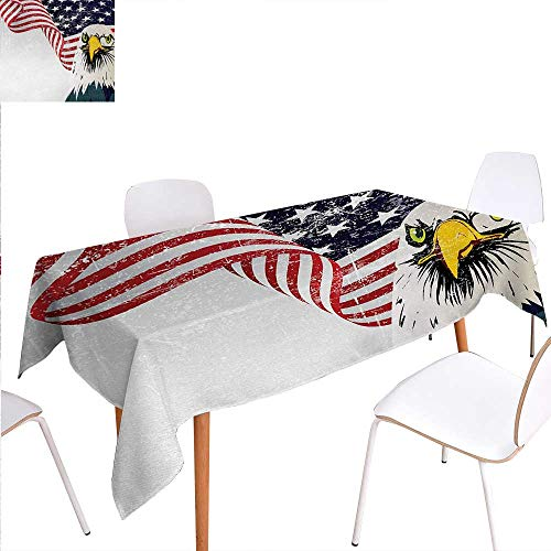 Warm Family American Flag Washable Tablecloth American Eagle with Grunge Effect 4th of July USA Country Independence Image Waterproof Tablecloths 60